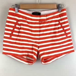 J crew red white striped shorts